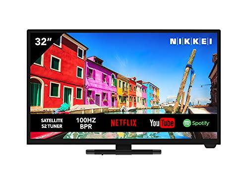 Televisione NIKKEI NH3221SMART da 81 cm  32 pollici (Smart TV con wifi integrato, HD Ready, 1366 x 768, 3x HDMI, 1x USB, guida elettronica ai programmi)