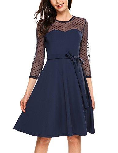 Zeagoo Damen Vintage 50er Jahr Rockabilly Kleid Swing Cocktailkleid Abendkleid Elegantes Kleid, (B)Blau, Gr.- 42 EU/ Large