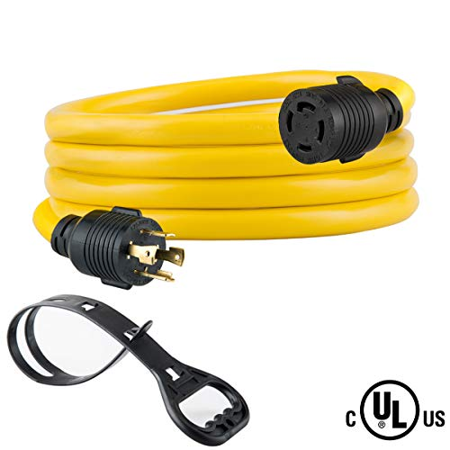 Yodotek 10 FEET Heavy Duty Generator Locking Power Cord NEMA L14-30P/L14-30R,4 Prong 10 Gauge SJTW Cable, 125/250V 30Amp 7500 Watts Yellow Generator Lock Extension Cord with UL Listed