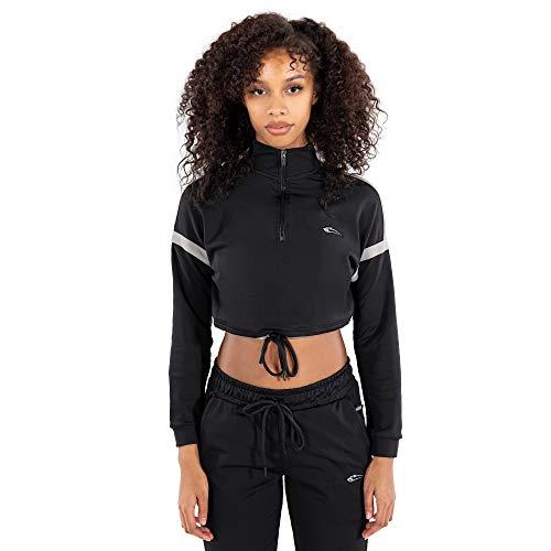SMILODOX Damen Cropped Half Zip Sweatshirt Melessa - Regular fit Langarm Oberteil mit Rundhals und Reißverschluss, Größe:M, Farbe:Schwarz/Grau