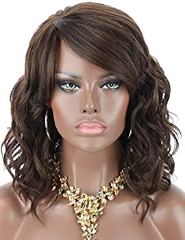 Kalyss 12  Brown Highlights Synthetic Hair Wigs with Hair Bangs Short Wavy Curly Wigs for Black Women Side Parting Realistic Lightweight Premium Yaki Synthetic Hair Wigs ,Comes with Clips and Wig Caps
