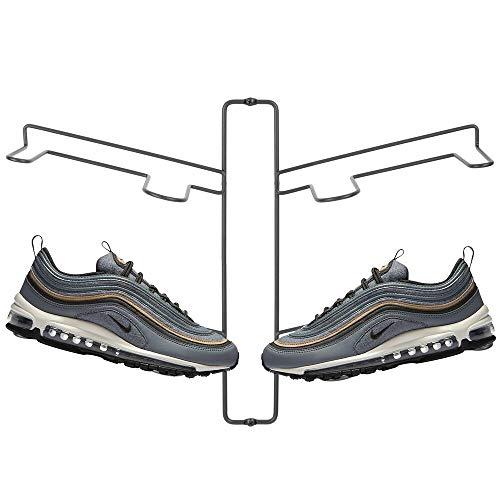mDesign Organizador de zapatos – Zapatero de pared para dos pares de zapatillas, calzado deportivo, etc. – Una alternativa al mueble zapatero que ahorra espacio – gris