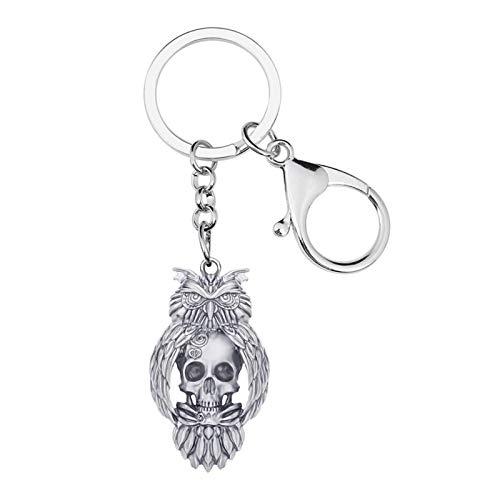 YSCSTORE HumoliStore Halloween Antique Chapado en Oro Cráneo Kewchain Llavero Anillo, Tamaño: 44mm x 26mm, Keychain de Esqueleto Joyería Mano de Obra Exquisita (Color : Antique Silver)
