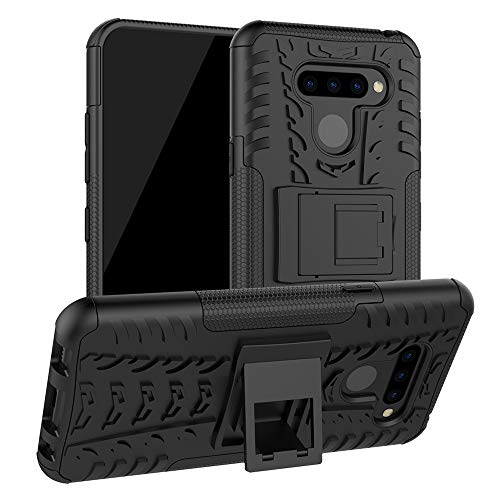LiuShan LG Q60 / LG K50 Funda, Heavy Duty Silicona Híbrida Rugged Armor Soporte Cáscara de Cubierta Protectora de Doble Capa Caso para LG Q60 / LG K50 Smartphone,Negro