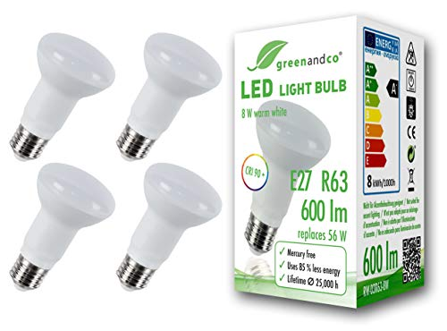4x greenandco® CRI 90+ LED Lampe ersetzt 56 Watt R63 E27 matt, 8W 600 Lumen 3000K warmweiß 160° 230V AC, flimmerfrei, nicht dimmbar, 2 Jahre Garantie