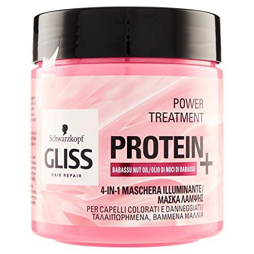 Gliss - Mascarilla Proteína 4 en 1 Aceite de Babasu, Proteína para tu Cabello, Fórmula Vegana y sin Volorantes Artificiales, para Cabello sin Brillo, Rosa, 400 mililitros