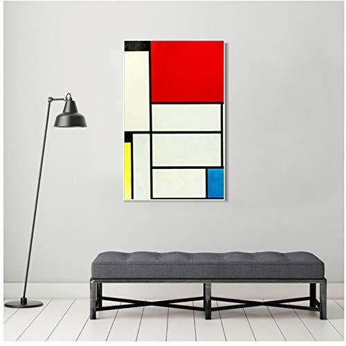 A&D Piet Cornelies Mondrian Malerei auf Leinwand Poster und Drucke Wandkunst Bild Für Wohnzimmer Druck auf Leinwand -50x70cm Kein Rahmen