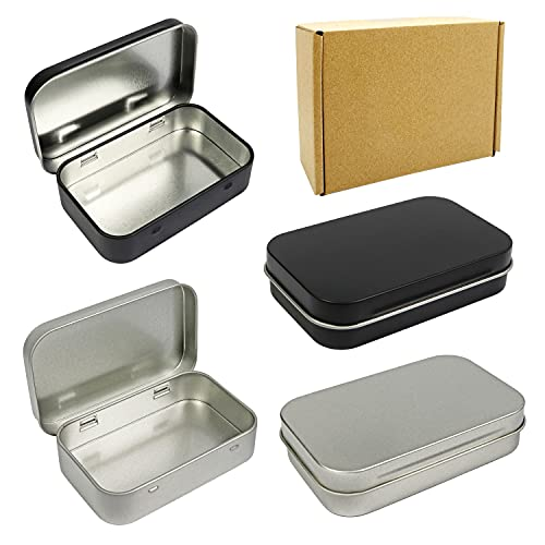 4 Pack Metal Rectangular Empty Hinged Tins Box Containers 3.75 by 2.45 by 0.8 Inch Silver & Black Mini Portable Box Small Storage Kit Home Organizer (2 Black 2 Silver)