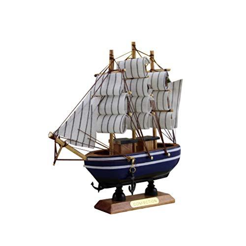 Decoración de barco de vela de madera estilo mediterráneo barco de vela modelo de madera decoración de la mesa casa (color aleatorio)