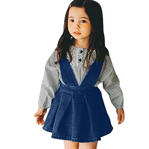 Vestido Vaquero para Niña Fiesta Primavera Verano 2019,PAOLIAN Vestido Peto Bebe Niña Princesa Cumpleaños Bautiz 6 Meses-4 años Sin Manga Conjunto Nina Mono Recién Nacidos Falda Casual Azul
