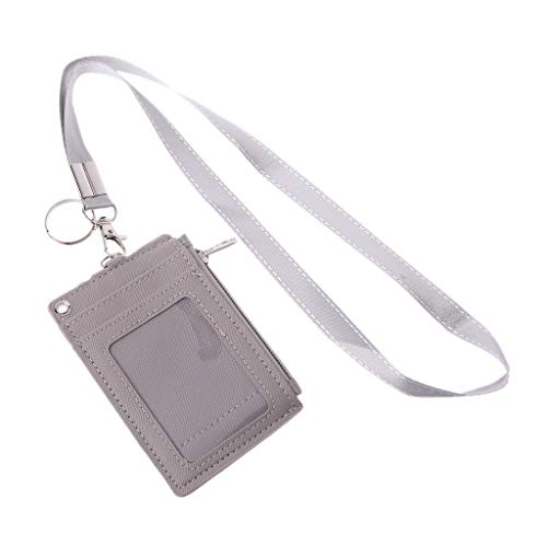 JIACUO Business Credit Card ID Badge Coin portemonnee houder nek riem Lanyard sleutelhanger