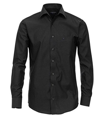 Langarm Slim Fit Hemd schwarz 100% Baumwolle Kentkragen TAILLIERT 41