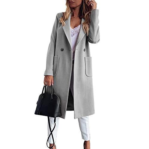 Jskdzfy Chaquetas Mujer Mujer Cuello Solapa Bolsillo Botón Abrigo Largo Abrigo Caliente Abrigo Abrigo Talla Grande Mujer Abrigo Mujer Abrigo Mujer Abrigo Mujer Abrigos Mujer (Color: Gris, Talla M: M)