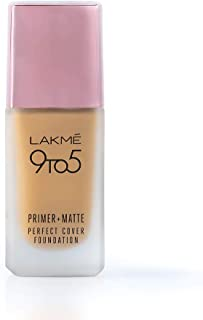 Lakme 9To5 Primer + Matte Perfect Cover Foundation, W120 Warm Crème, 25 ml