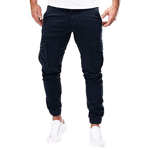 Routinfly Freizeithose für Herren,Trainingshose,Leichte Hose,Seitentaschen,Männer Pure Color Pocket Overalls Lässige Arbeit Lässige Hosen M-3XL
