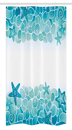 Ambesonne Ocean Stall Shower Curtain, Modern Sealife Marine Sea Shells Stars Fish Under The Sea Image, Fabric Bathroom Decor Set with Hooks, 36' X 72', Turquoise Seafoam