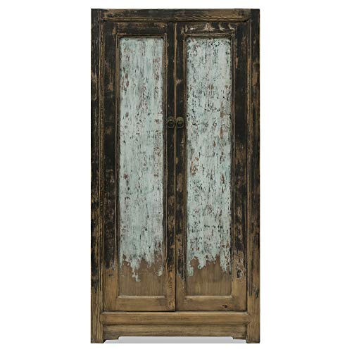 Fantastic Prices! China Furniture Online Elmwood Dynasty Armoire, Distressed Blue and Black