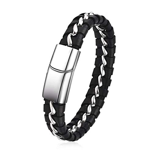 Jewellery Bracelets Bangle For Womens Fashion Leather Bracelet For Men Stainless Steel Bangles Punk Braided Rope Chain Vintage Wrist Jewelry Male Gift-1_20Cm