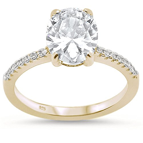 Oxford Diamond Co Sterling Silver Yellow Gold Plated Oval Cut Cubic Zirconia Engagement Ring Sizes 8