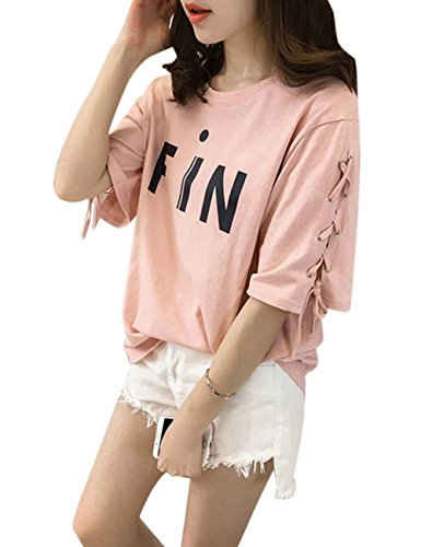 RONSHIN Good for Women Stylish Tie Strap Medium Sleeve Round-neck T-Shirt Simple Printing Loose Tops Blouse Pink L [100-115 catties]