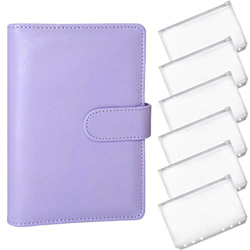 A6 Notebook Binder with 6 Binder Pockets - PU Leather Refillable 6 Ring Binder for A6 Binder Paper Loose Leaf Personal Organizer Binder Cover with Magnetic Buckle Closure(Purple)