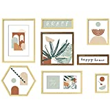 ArtbyHannah 8 Pack Mid-Century Modern Gallery Wall Frame Set with Decorative Botanical Plant Art Print Abstract Wall Art Decor Tropical Art Prints Picture Frame Collage Sets Wall Decor for Home Decoration, Multi Size 12x16,7.6x14.1,10x10,10.8x3.2,9.37x8.11,6x8,4x6 Inch
