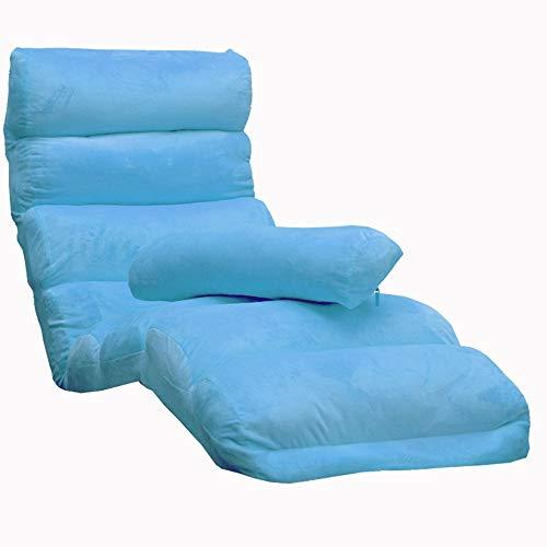 LJFYXZ Canapé Paresseux Chaise Canapé Pliant Multifonctionnel Facile à enlever et à Laver Réglage à 5 Vitesses Chaise Longue Balcon de la Chambre Multicolore en Option (Couleur : Bleu)