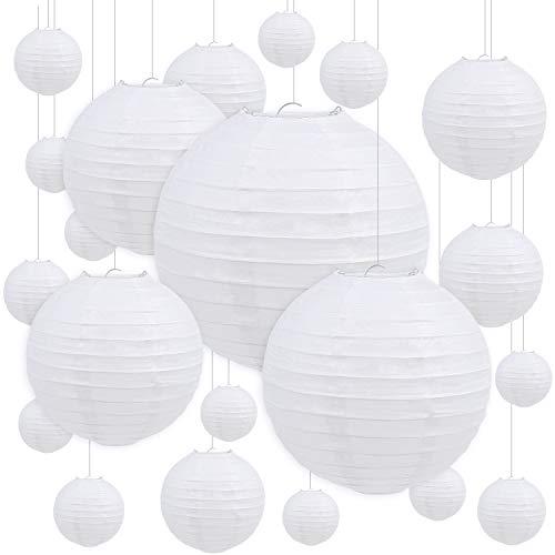 DERAYEE 10 Stück weiße Papierlaternen, rund Lampenschirm mit 15m elastischer Fischseidenfaden für Hochzeit Party usw. Dekoration