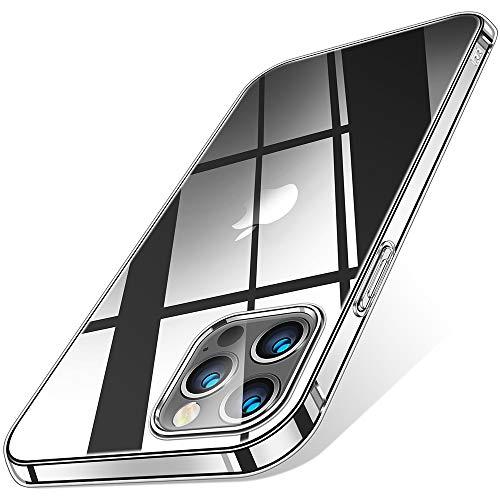 Carcasa transparente para iPhone 12 Pro Max 2020 de 6.7 pulgadas, antiamarillento, suave, diseño de cuerpo delgado, a prueba de golpes
