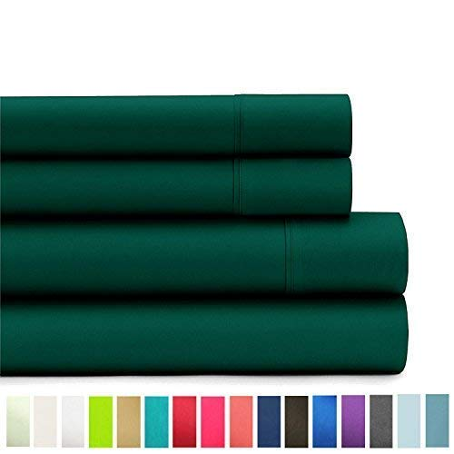 American Home Collection Deluxe 3 Piece Bed Sheet Sets of Brushed Microfiber Wrinkle Resistant Silky Soft Touch (Twin, Forest Green)