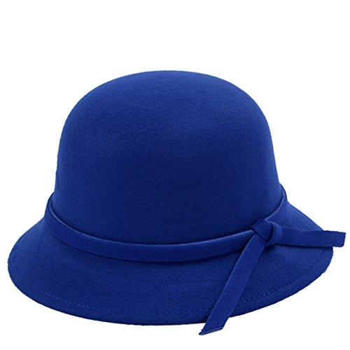 ZUMUii ZUMUii Butterme Frauen Dame Vintage Wool Round Fedora Bogen Cloche Derby Hüte Eimer Hüte (Blau)