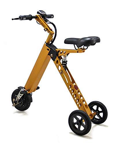 LJ Tragbares kleines elektrisches Fahrrad für Erwachsene Klappbarer elektrischer Fahrradroller Kleines Mini-Elektro-Dreirad Weibliches Batterie-Fahrradgewicht 14 kg mit 3 Gängen Geschwindigkeitsbegre