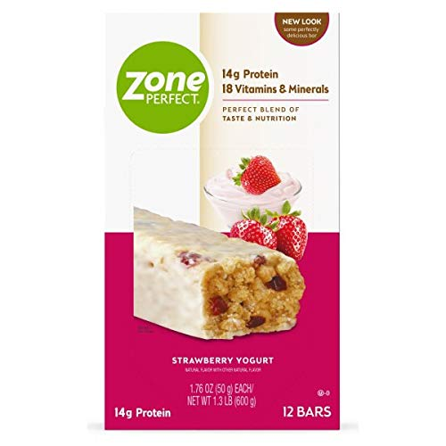 ZonePerfect Protein Bars, Strawberry Yogurt, 14g of Protein, Nutrition Bars with Vitamins & Minerals, Great Taste Guaranteed, 36 Bars