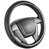 SEG Direct Car Steering Wheel Cover Small-Size for Prius Civic Model 3 Camaro Spark Rogue Mini Smart Audi with 14 inches-14 1/4 inches Outer Diameter, Black Microfiber Leather