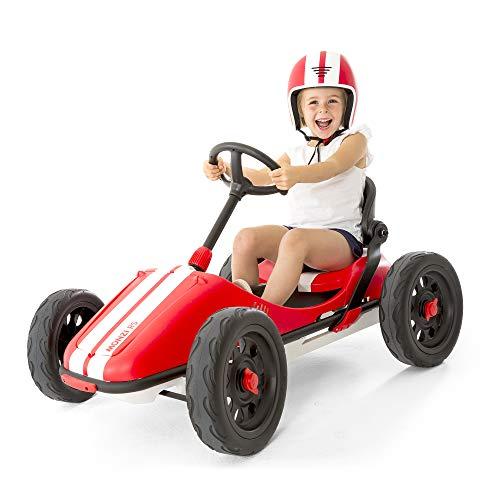 Chillafish RED Monzi Rs Kids Foldable Pedal Go-Kart with Airless Ruberskin Tires, Medium