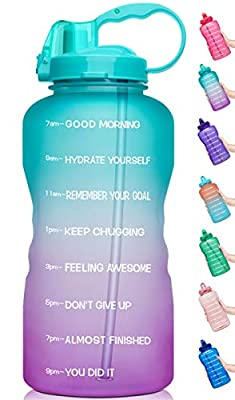 Venture Pal Large Half Gallon/64oz Motivational BPA Free Leakproof Water Bottle with Straw & Time Marker Perfect for Fitness Gym Camping Outdoor Sports
