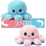 AYCA Octopus Stimmungs Kuscheliger XXL,Reversible Mood Octopus Plüschtier XXL für Mädchen/Jungen.Kann als Kindertagsgeschenk, Verwendet Werden (Blau+Rosa, 30cm)