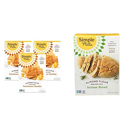 Simple Mills Almond Flour Crackers, Farmhouse Cheddar, Gluten Free, Flax Seed, Sunflower Seeds, Corn Free, Good for Snacks & Almond Flour Baking Mix, Gluten Free Artisan Bread Mix