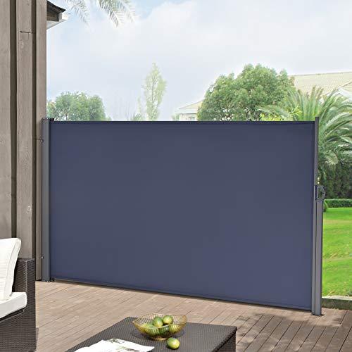 pro.tec Seitenmarkise 180 x 300 cm Dunkelblau Sichtschutz Markise Sonnen- & Windschutz