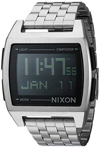 NIXON Base A1107 - Black - 100m Water Resistant Men's Digital Fashion Watch (38mm Watch Face, 20mm Stainless Steel Band)