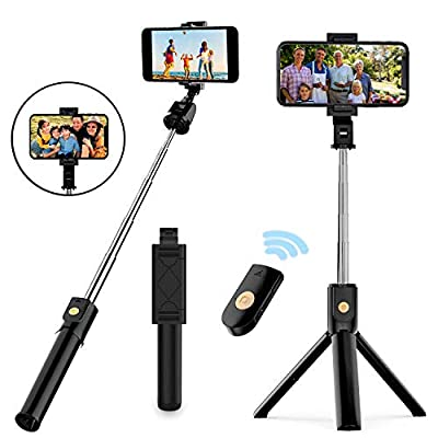 Selfie Stick Tripod, Extendable Bluetooth Selfie Stick with Wireless Remote, Compatible with iPhone 11/11 pro/X/8/8P/7/7P/6s/6, Samsung Galaxy S9/S8/S7/Note 9/8, Huawei and More by NUATE