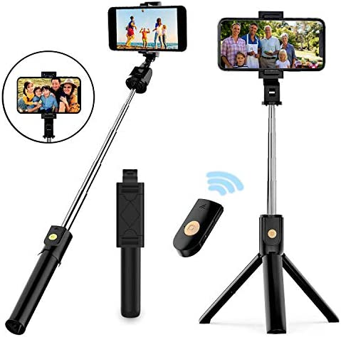 Selfie Stick Tripod Extendable Bluetooth Selfie Stick with Wireless Remote Compatible with iPhone product image