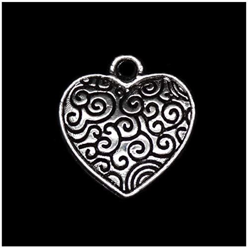 Zicdije 80 colgantes Wicca de plata para manualidades, para joyas, manualidades, accesorios tibetanos para pulseras y collares, Zinc,