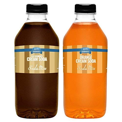 Ralph's 32oz (Quart) TWO Pack Sparkling Water Soda Maker Flavors Syrup | Orange Cream Soda | Cream Soda | Sodamix