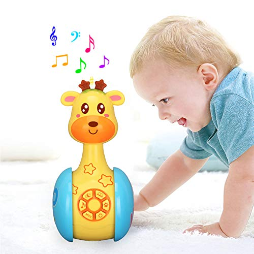 Juguete musical de Tumbler Doll Baby, juguetes Roly-Poly sonajeros con luces, sonidos y música Juguetes educativos tempranos Sonajeros lindos Timbres de campanas para 3 meses Infantes Niños (Jirafa)