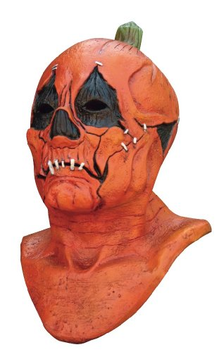 Generique - Masque intégral citrouille points de suture adulte Halloween