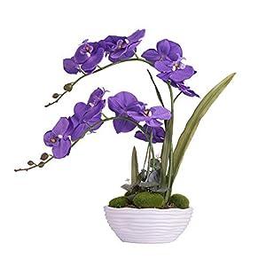 YSZL Large Artificial Potted Orchid Plant, Silk Flower Arrangement with Ceramics Vase, Purple