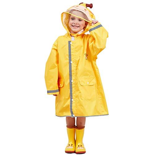 LIVACASA Regenponcho Unisex Wasserdicht Leicht Regenmantel Schulranzen Atmungsaktiv Regenjacke Tasche Outdoor Regen Overall Reflektoren mit Tiermuster Kapuze für Jungen Mädchen Gelb L
