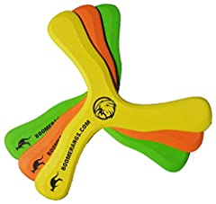 "Includes 3 Safe Foam Boomerangs for Kids Includes 3 ""How to Throw Boomerangs"" Instructions Easy boomerangs for even young arms to throw and catch. NOTE: COLORS MAY VARY For LOW WIND ONLY. These are light, FOAM boomerangs."