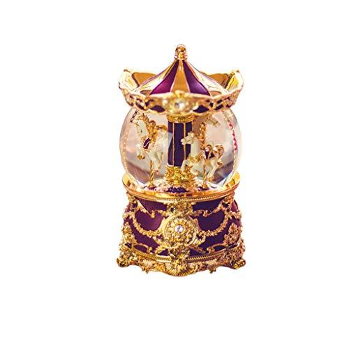 Music Box Music Box Crystal Ball Carousel Verstuur verjaardagscadeaus naar meisjes en kinderen Sneeuw Creatief Wijn Rood
